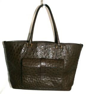 Loro Piana $13 995 Dark Brown Ostrich Large Globe Tote Bag