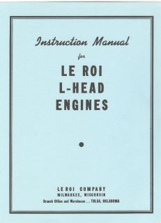 Le Roi L Head Engine Instruction Manual Bosch Magneto