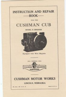 Cushman Cub Model R Gas Engine Instruction Repair Parts Manual Motor