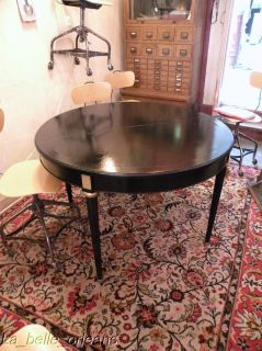 Louis XVI Black Lacquered Round Dining Table 1 Ext Leaf Jansen Style