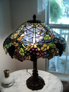 Louis Comfort Tiffany Style Stained Glass Grapevine Victorian Lamp