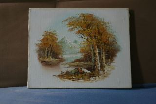 Vintage Miniature Mountain View Oil Painting on Canvas Signed