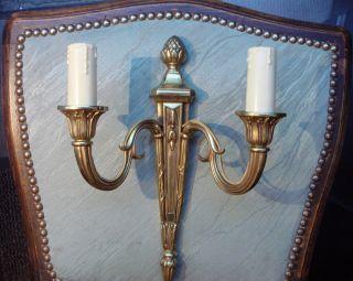 VINTAGE ANTIK BRASS BRONZE WALL LIGHTS LAMPS SCONCES FRENCH LOUIS XVI