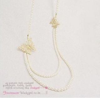 Charm Elegant Style Butterfly Long Pearls Chain Woman Necklace