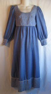 70s Gloria Moret Blue Renaissance Prairie Long Hippie Dress S