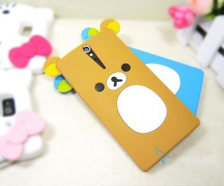 Lovely Cute Teddy Bear Silicone Soft Cover Case for Sony Xperia s Arc