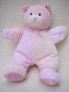 Baby Gund Pink Dottie Dots Kitty Cat Plush Rattle Lovie