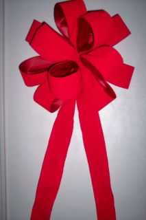 LARGE 10 CHRISTMAS WREATH BOW RED VELVET NICE WEATHER PROOF RIBBONSWAG