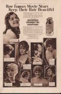 1918 Mulsified Shampoo Famous Movie Stars Bottle Box Ad