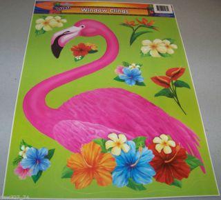 Luau Tiki Party Flamingo Flowers Window Clings Cling