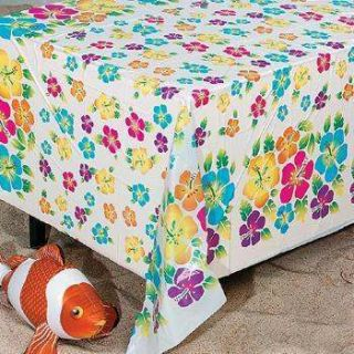 Flower Print Table Cover Hawaiin Luau Party Decorations Set