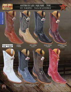 Los Altos Square Toe Ostrich Leg Mens Western Cowboy Boots Diff