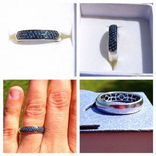 Blue Diamond Band Style Ring