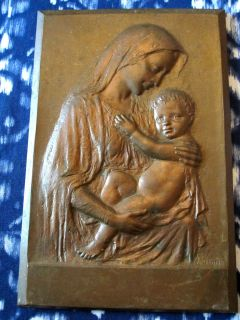 Antique C Luini Bronze Plaque Madonna Child Signed