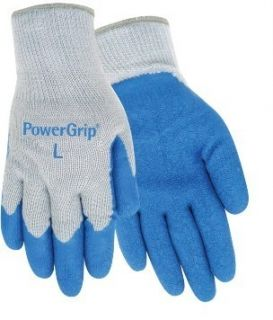 Red Steer Power Grip Gloves Large Blue Rubber Palm Poly Cotton Knit