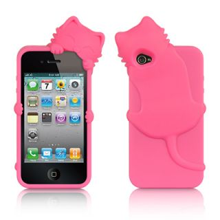 Luxmo High End Skin Cover Case for Apple iPhone 4 4S Hot Pink Cat