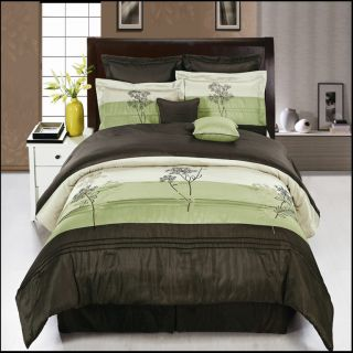 Luxury Portland Sage Coffee Floral 8PC Comforter Bed Skirt Bedding Set