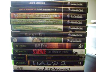 lot 12 game cube xbox wii games luigis mansion spongebob doom 3 halo 2