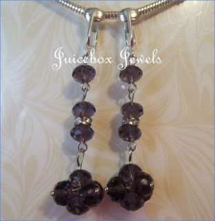 Clip on Purple Faceted Crystal Cluster 2 Dangle Earrings B693