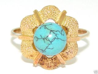 Estate 18kt Gold 7mm Turquoise Love Knot Ring