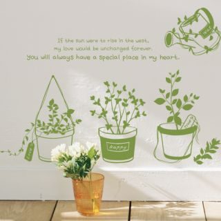 Sweet Garden Flower Pots Love Quotes Wall Sticker Removable Vinyl
