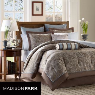 KING QUEEN 12 PC BROWN BLUE PAISLEY MADISON PARK COMFORTER BEDDING BED
