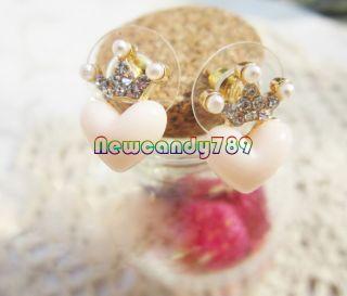 Korean Lovely Peach Heart Loving Heart Stud Earrings New Fashion