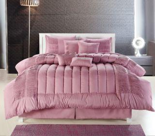Washable SVLL Luxury Comforter Bed Skirt Bedding Set Rose Pink