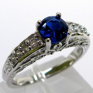 Luxurious 1 Ct Sapphire 925 Sterling Silver Micro Pave Ring Size 9 25