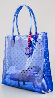 New Juicy Couture Blue Pool Party Leann Jelly Beach Tote Bag with