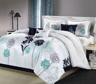 White Navy Teal Luxury Comforter Bedding Set—Queen Size