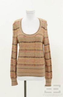 Missoni Tan Multicolor Striped Wool Knit Sweater