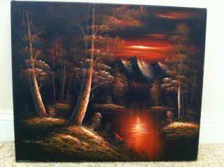 "Original M Scott Sunset Landscape Painting 24"" x 20"" 75 Off"
