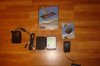 Palm M500 PDA with Keyboard New Leather Case Nice Palm Pilot