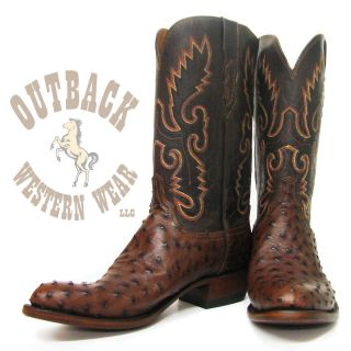 Lucchese Mens Sienna Full Quill Ostrich Boots N1132