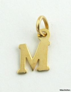 Initial Letter M Pendant   Italian Solid 10k Yellow Gold Fine Fashion
