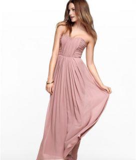 Long Chiffon Rose Bandeau Corset Maxi Dress 8 BNWT
