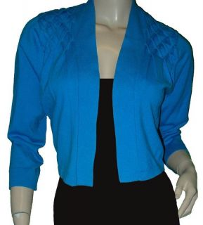 Calvin Klein Turquoise Blue Knit 3 4 Sleeve Cardigan Shrug Sweater Med