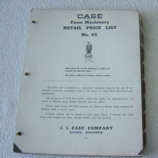 Ji Case Tractor Farm Machinery Retail Price List 1955