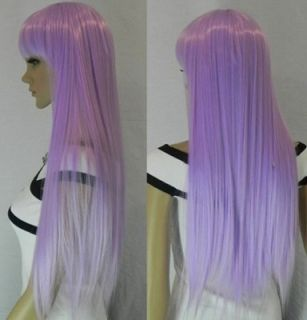 New fashion beautiful light purple Long Straight human made FULL WIG