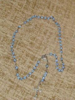 Vintage Sterling Silver Blue Aurora Borealis Crystal Rosary Nice