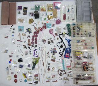Beading Beads Supplies Huge Lot Lampwork glass ceramic pearls crystals
