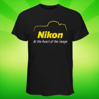 Hot Black White T Shirt Nikon Logo Silhouette Digital Camera DSLR