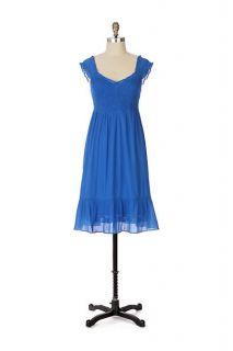 Maeve Anthropologie Blue Smocked Gauze Ruffled Ingenuity Dress 8 M