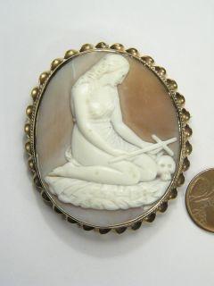 Carved Shell Cameo Pin Brooch c1870 Mary Magdalene Skull Cross