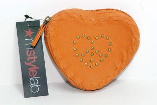 Style Lab Macys Cognac Orange Heart Peace Change Wallet Coin Purse