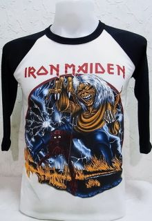 Iron Maiden Vtg Rock Nice Cool Men Thin Soft Elastic Jersey Baseball T