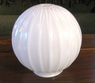 Vtg Milk White 8 inch Round Ribbed Glass Lamp Light Globe Shade