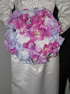Lavender Flowers,Orchid Roses, Carnation Wedding Bouquet Set 20~ ALSO