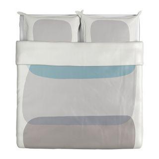 IKEA MALIN FIGUR King Duvet Cover 2King Pillow Cases shams Wht gray